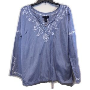 North River Blue White Floral Embroidery Cotton L